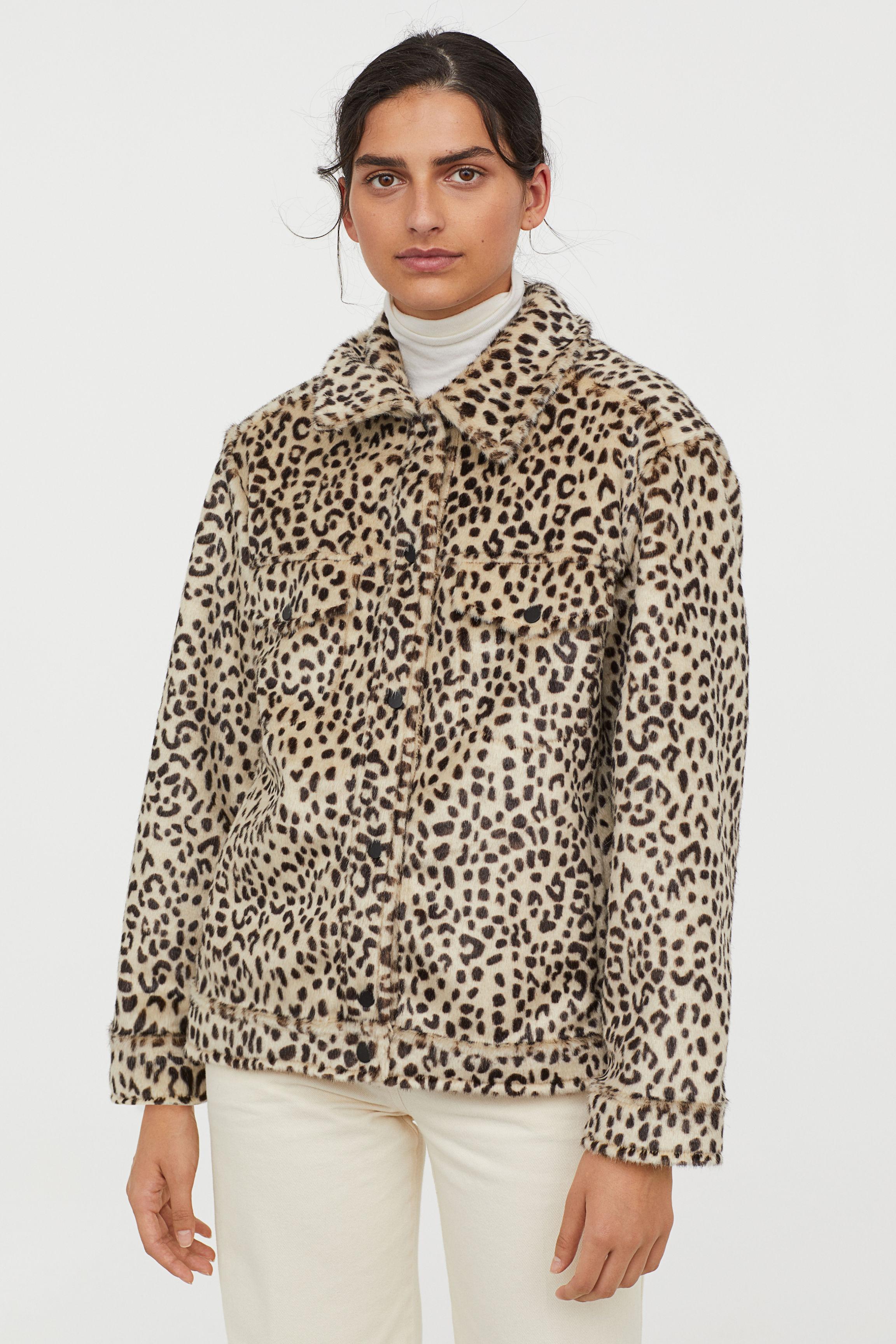 Faux fur jacket with a collar - Light beige/Leopard print - Ladies | H&M GB