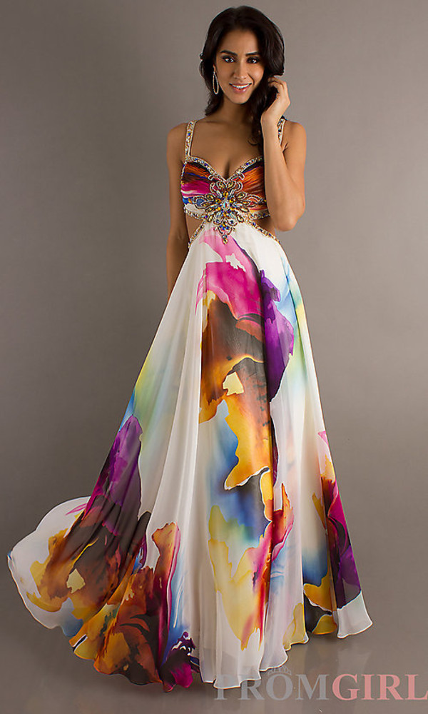 Open Back Long Print Prom Dress, Dave and Johnny Gown- PromGirl