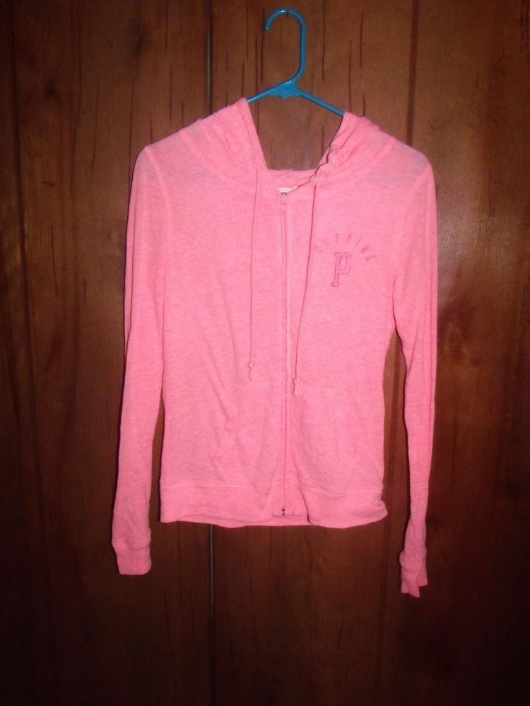 Secret Pink Coral Thin Jacket Zip Up Hoodie Cute Extra Small XS EUC