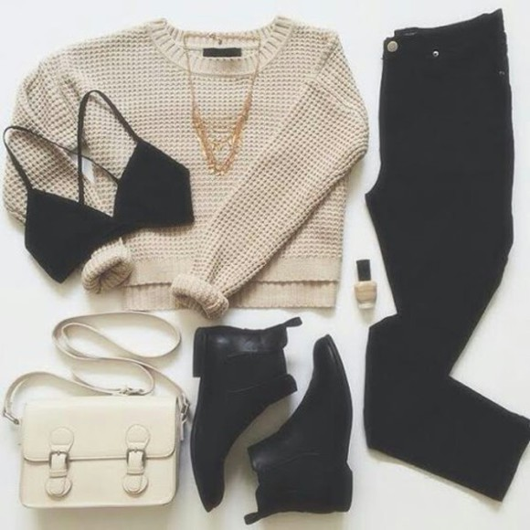 nail boots style polish necklace classy purse jeans black jeans beige nail polish warm fall outfits underwear