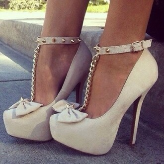 shoes high heels nude high heels rivets gold heels with bows heels pumps bows spikes studs nude nude pumps
