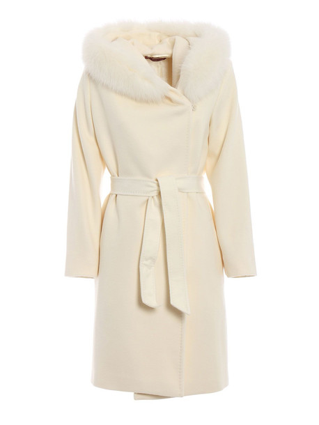 Max Mara Fur Trim Hooded Wool Mango Wrap Coat in white