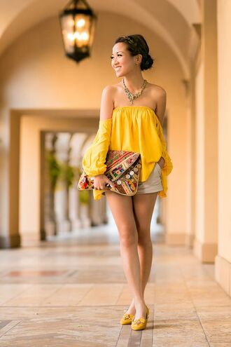shoes off the shoulder top blogger off the shoulder shorts charlotte olympia yellow top clutch statement necklace ballet flats date outfit
