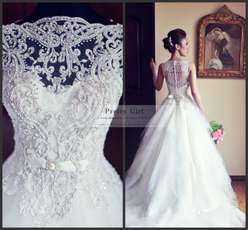 White Ball Gown Popular Vera Beading Unique Wedding Dresses 2015 Romantic Chic Back Lace Dress From Reliable Shirt Fabric Types Suppliers