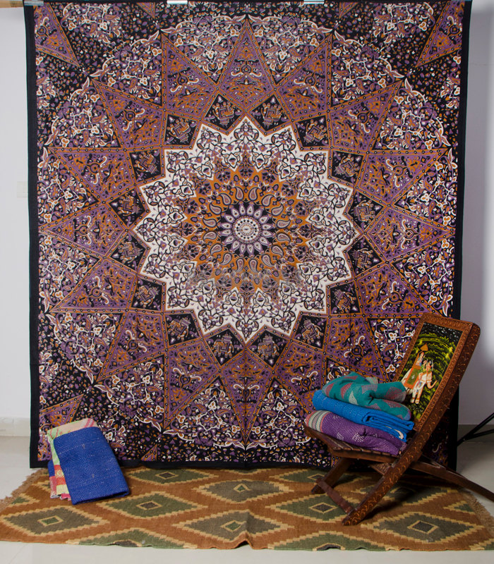 Mandala Tapestry Hand Block Print Mandala Tapestry