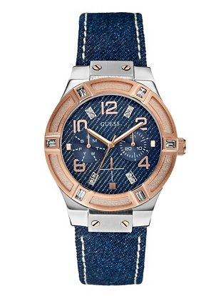 Silver and Rose Gold-Tone Jetsetter Denim Watch  | GUESS.com
