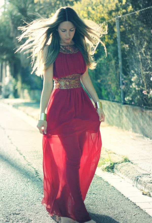 red dress gold