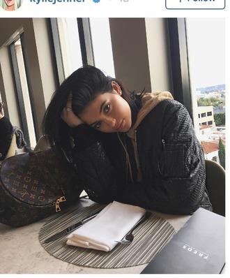 bag louis vuitton bag louis vuitton kylie jenner eyeliner eyebrows natural hair natural makeup look black jacket kylie jenner jewelry fabulous fashion sweater sweatshirt hoodie instagram bomber jacket