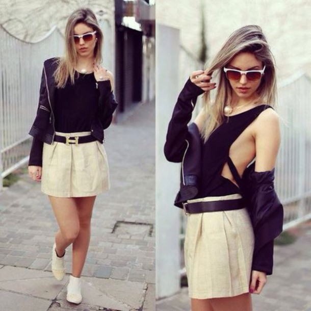jacket shirt skirt
