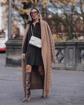 bag,chanel bag,brown boots,leather boots,black dress,white bag