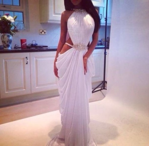 dress girly white maxi dress white dress prom dress evening dress cut-out dress side cut out dress white gold gold low cut dress long dress open sides wedding dress wear can i get this dress clothes prom sleeveless dress