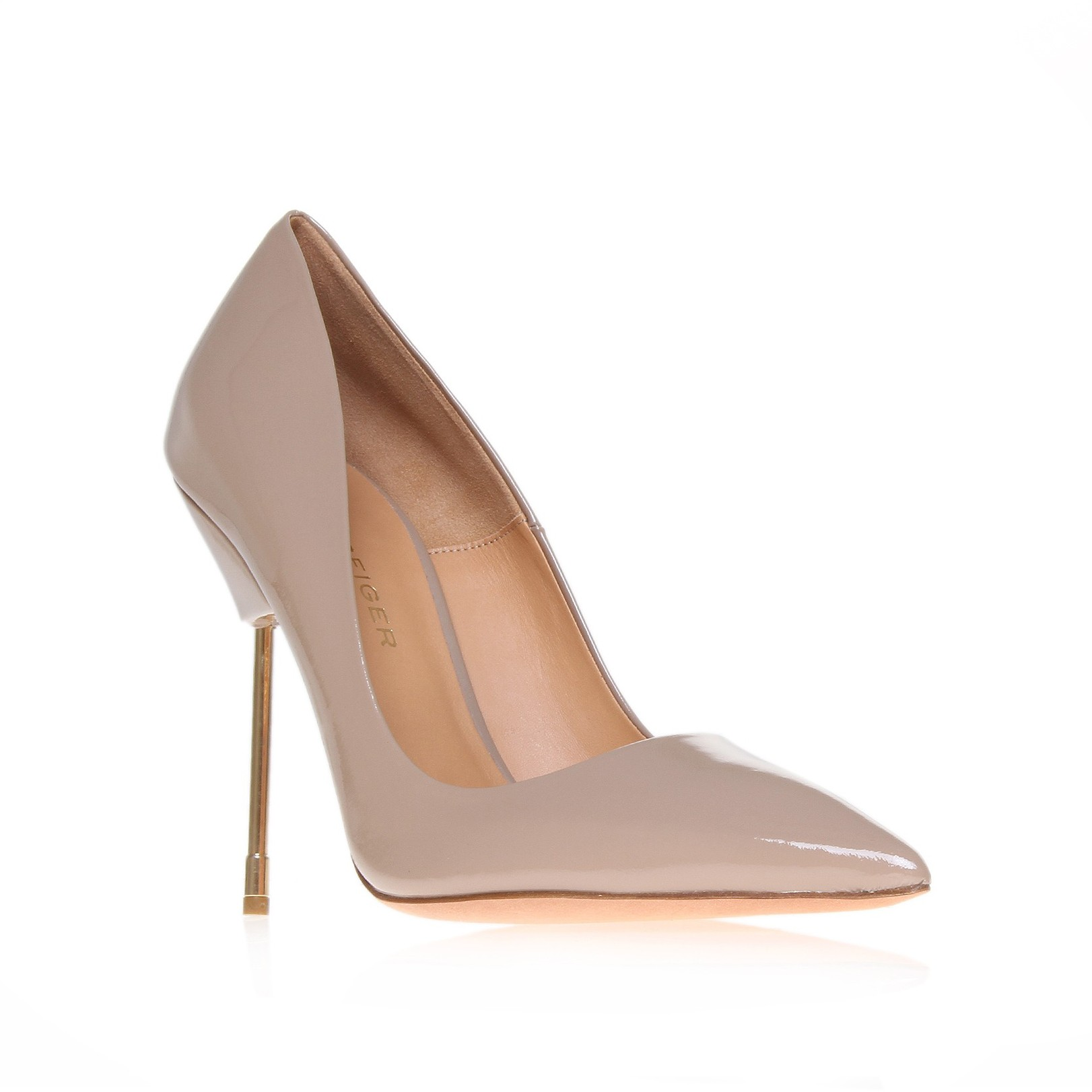 Kurt Geiger |  BRITTON Nude leather pointed stiletto by Kurt Geiger London