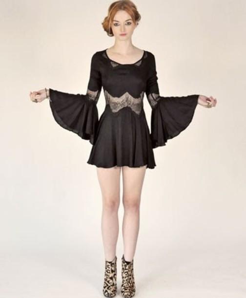 Black Dress Grunge Lace Dress Lace Homecoming Dress Black