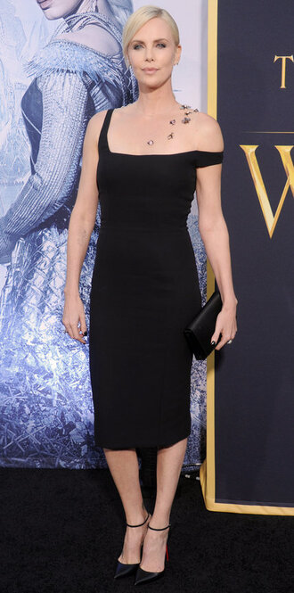 dress charlize theron midi dress black dress