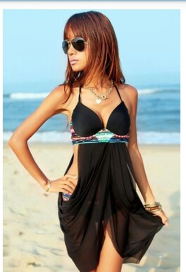 swimwear black tribal pattern cute summer bikini