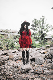 jag lever,blogger,lace dress,red lace,red dress,lace up boots,long sleeve dress,round sunglasses