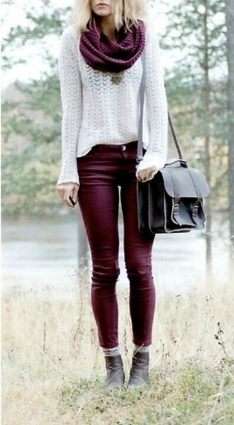 scarf jeans pants black sweet fall outfits asos shoes bag back to school burgundy jeggings cardigan sweater winter sweater white sweater burgundy jeans brown boots white