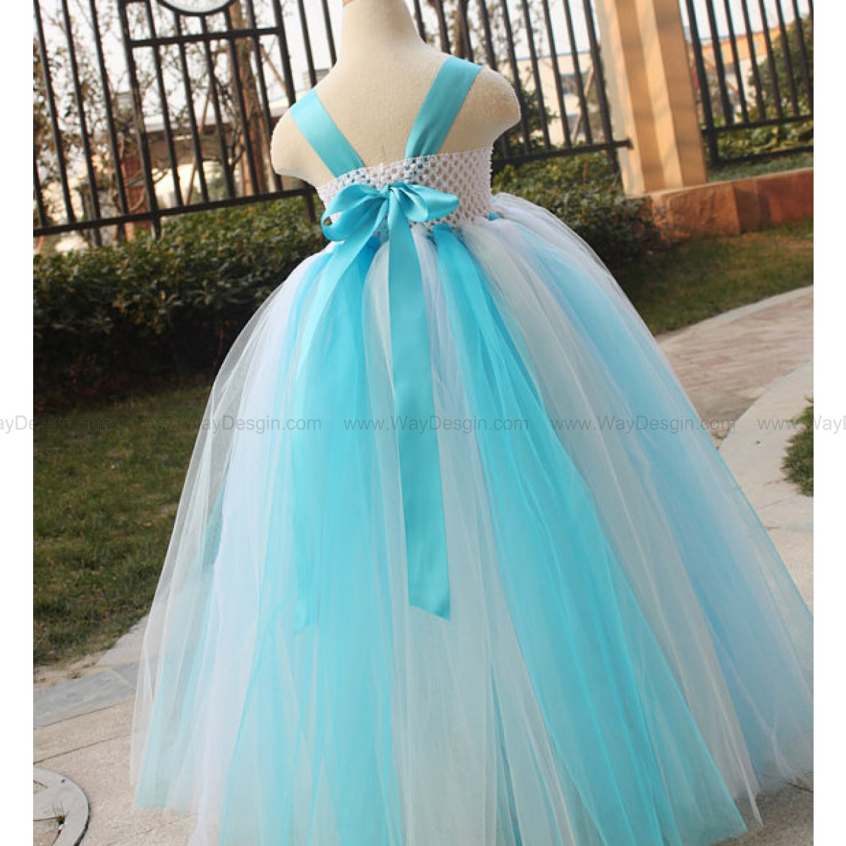 Flower Girl Dress Turquoise Grey white tutu dress baby dress toddler birthday dress wedding dress