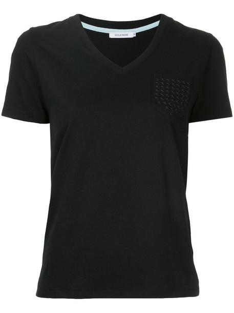 Guild Prime - star pocket T-shirt - women - Cotton - 36, Black, Cotton