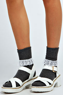 Alexus Lace Frilly Ankle Socks at boohoo.com