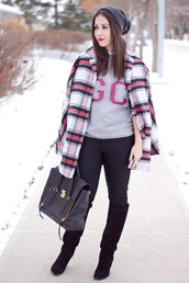 adventures in fashion,blogger,jeans,jewels,pom pom beanie,flannel,grey sweater,black boots,knee high boots,satchel bag