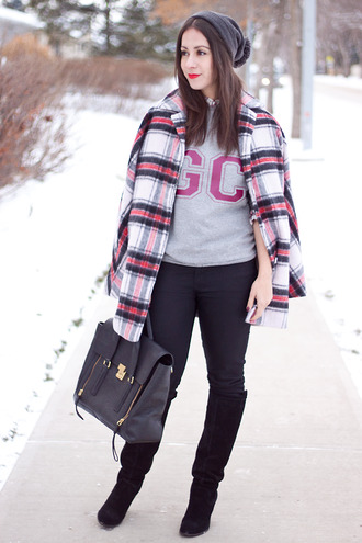adventures in fashion blogger jeans jewels pom pom beanie flannel grey sweater black boots knee high boots satchel bag