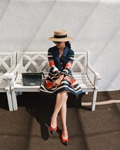 dress,hat,tumblr,midi dress,stripes,striped dress,long sleeves,satin,flats,ballet flats,sun hat,bag