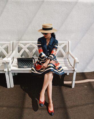 dress hat tumblr midi dress stripes striped dress long sleeves satin flats ballet flats sun hat bag