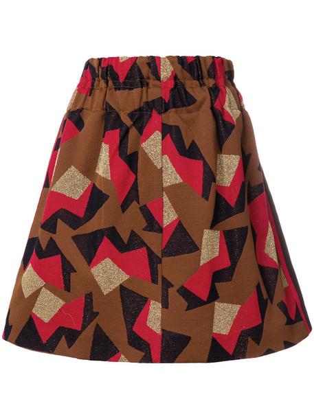 MARNI skirt mini skirt mini metal women geometric cotton brown pattern