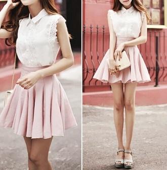 skirt blouse belt white blouse cute korean fashion girly