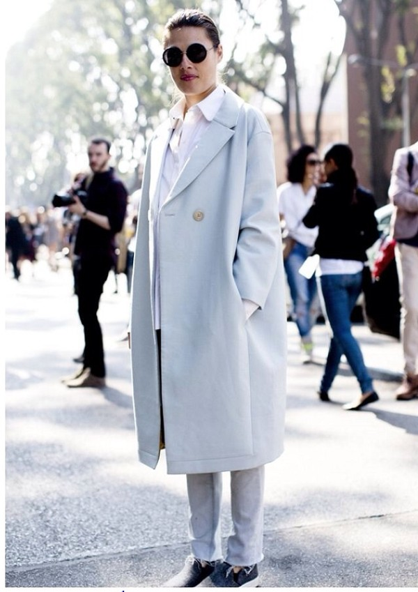 coat light blue oversized coat