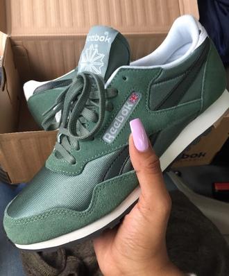 shoes olive green green rebok reebok khaki forest green sneakers