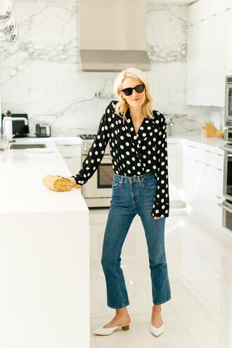 luella & june blogger top jeans polka dots shoes blouse