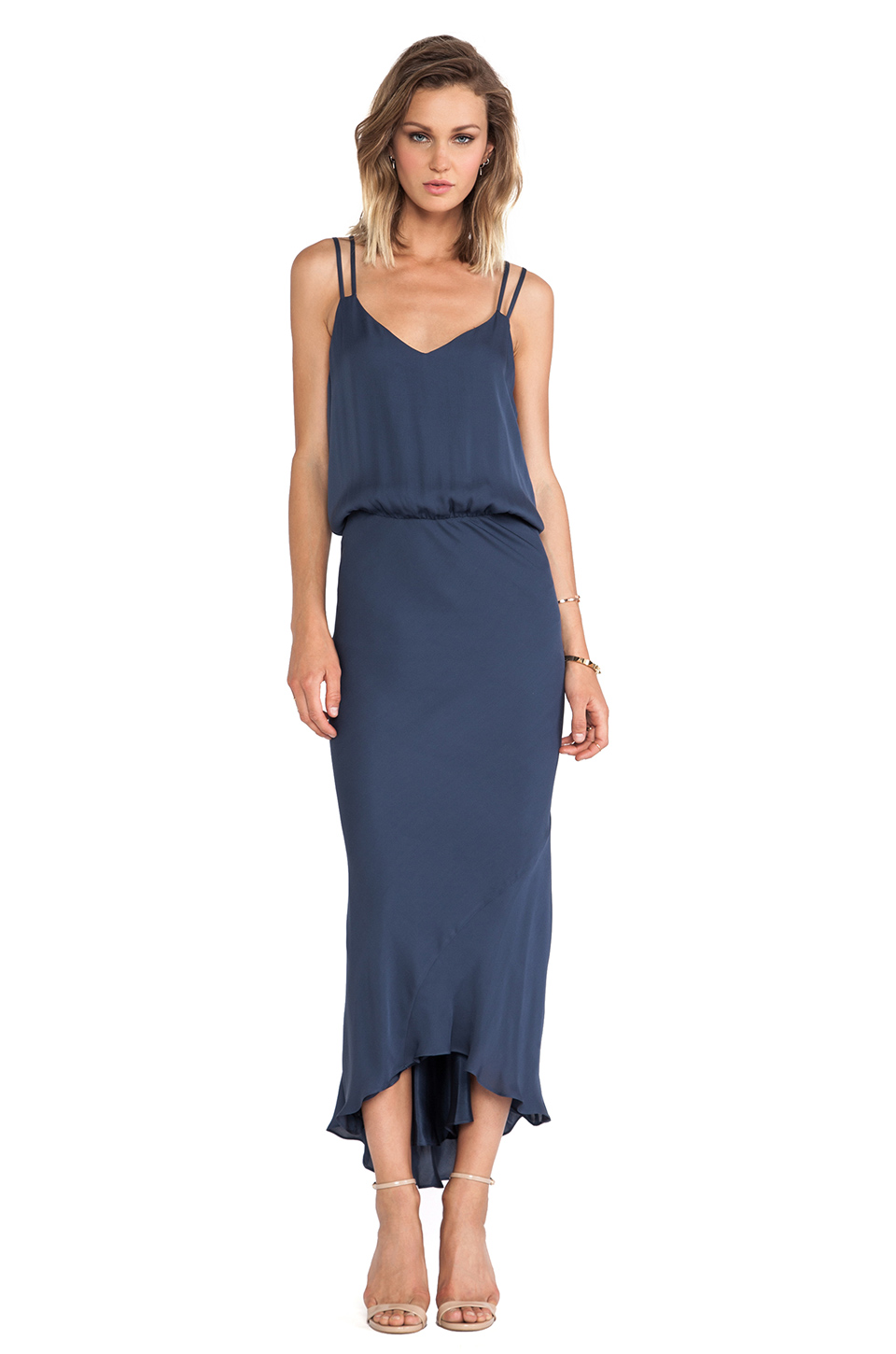 Mason by Michelle Mason Double Strap Bias Dress in Slate | REVOLVE
