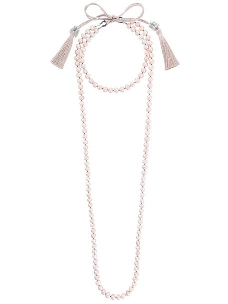 layered necklace women pearl layered necklace purple pink jewels