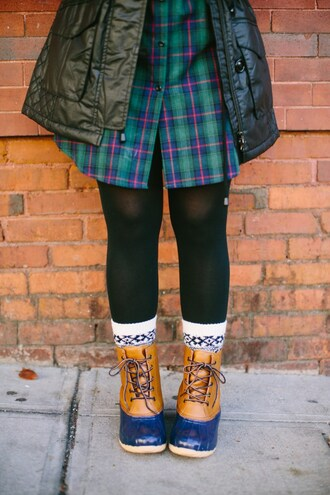 bohostylefile blogger shoes tights socks dress jacket duck boots winter boots shirt dress plaid dress