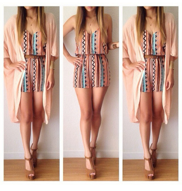 romper cardigan shoes aztec pattern neutral beige dress summer dress summer outfits style wedges brown wedges jumpsuit kimono jewels cute clothes tumblr shorts top summer windsor coral romper dress all of it coral tribal caged romper beautiful paerns romper