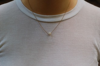 jewels gold small necklace gold necklace pearl pearl necklace choker necklace