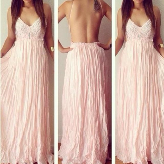 Cute pink long chiffon lace dress
