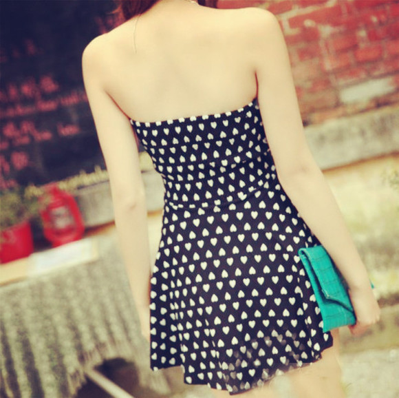 dress print dress cute dress prom dress strapless dress heart sweetheart dresses sweet