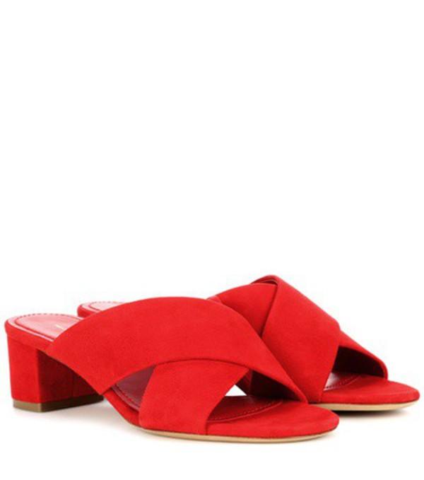 Mansur Gavriel 40mm Crossover suede sandals in red