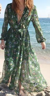 dress,france,boho dress,green dress,floral dress,maxi dress,beach dress,floral kimono,long dress,long sleeve dress,flowers