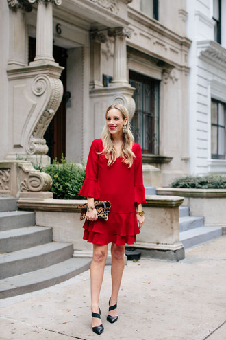 katie's bliss - a personal style blog based in nyc blogger dress bag jewels shoes red dress clutch pumps fall outfits