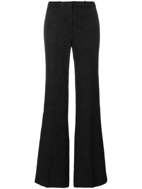 women spandex jacquard cotton black pants
