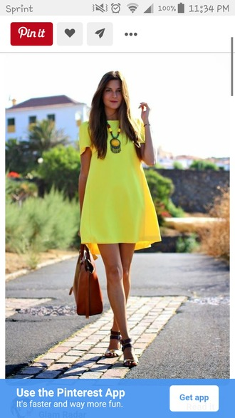 dress shift shift dress yellow yellow dress short dress blouse yellow summer dress summer dress summer outfits flat sandals sandals brown sandals bag handbag brown bag statement necklace necklace