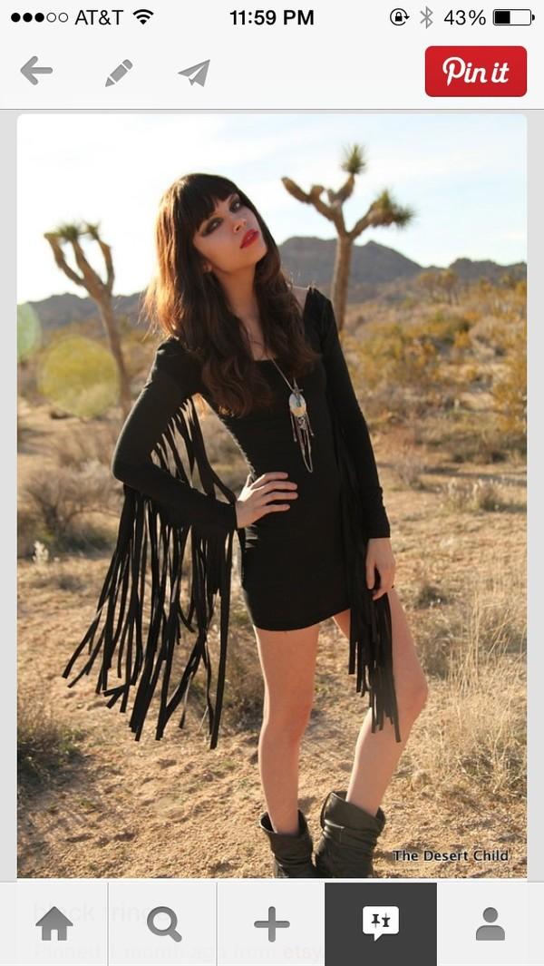 dress little black dress fringes black hippie hipster hipster mini fridge fringed dress