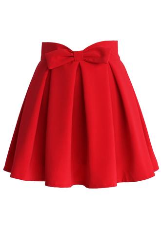 skirt chicwish ruby chicwish.com bowknot skirts pleated skirt
