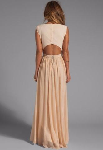 dress tan nude maxi open back buttons