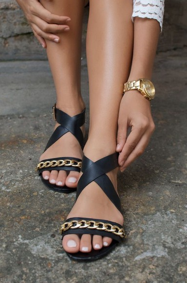 flats black sandals gold chain link