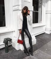coat,tumblr,white,white coat,fur coat,pants,black pants,leather pants,black leather pants,lace up pants,bag,red bag,sweater,knit,knitwear,knitted sweater,sunglasses,boots,black boots